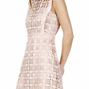 Pink Frill Trim Sleeveless Hollow Out Lace Dress