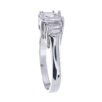 Plutus Brands 925 Sterling Silver Platinum Finish Emerald Cut Three Stone Engagement Ring 1.5 Carat Weight- Size 7