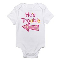 He's Trouble Pink Girl Twin Baby Onesuit - Size 3-6 Months