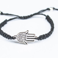 Hamsa Hemp Bracelet Black Friendship Hand of Fatima