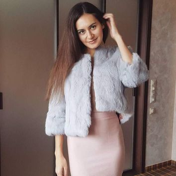 Hot Women Real Rabbit Fur Coat Natural Rex Rabbit Fur Coat O-Neck Fashion Slim Thin Rabbit Fur Coat Full Pelt Genuine Fur Jacket