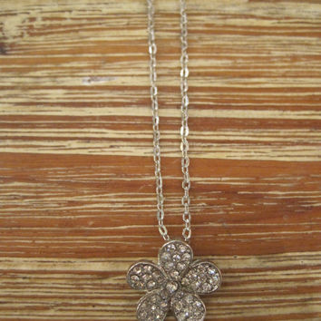 Silver Flower Necklace - Flower Necklace - Rhinestone Flower Jewelry - Nautical Jewelry - Beach Jewelry