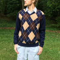 100% Lambs' Wool Argyle Sweater - Vintage Navy Blue - Joseph A Bank - Brown & Khaki Argyle - Size Large (L)