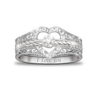 """I Love You"" Heart-Shaped Diamond Stacking Rings by The Bradford Exchange"