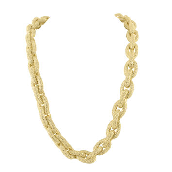 Mens Rope Link Sterling Silver Chain Yellow Gold Finish French Montana Necklace