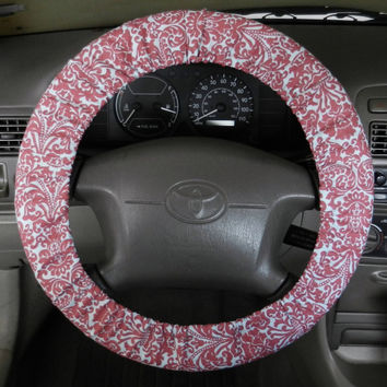 Red/Blue Damask Steering Wheel Cover, Car Accessory, Cute Girly Car Wheel Cover, Made in USA