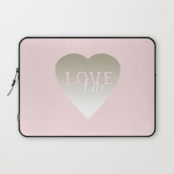 Love Life inspirational pink silver and white big heart feminine typography script design Laptop Sleeve by ankka