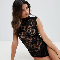 Lipsy Nora lace sleeveless bodysuit at asos.com