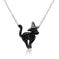 Sterling Silver Cat in Witch Hat Necklace with Swarovski Crystals 17 inch