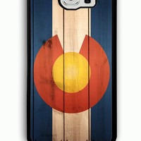 Samsung Galaxy S6 Case - Rubber (TPU) Cover with Colorado State Flag Wood Rubber case Design