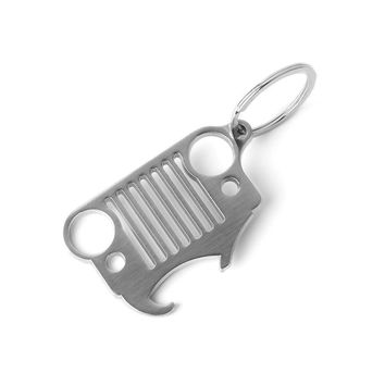 2017 Grill Key Chain with Integrated Bottle Opener for Beer & Soda Bottles for Jeep Wrangler Accessories Enthusiasts Silver
