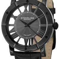 Stuhrling Original Winchester Mens Black Watch - Swiss Quartz Analog Date Wrist Watch for Men - Black IP Stainless Steel Mens Designer Watch with Black Genuine Leather Strap 881.03