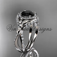 14kt white gold leaf and vine, flower engagement ring, Black Diamond VD10065