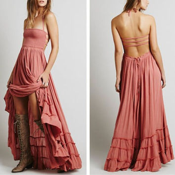 "Boho Maxi Dress Wood Rose Pink ""Extratropical"" Halter Gown Size Medium Long Strappy Backless Gauze Gypsy Dress Smocked Front Adjustable Waist Triple Tiered Hem"