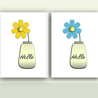 Yellow and blue daisy flower with hello word on the vase. Instant download, printable floral art.