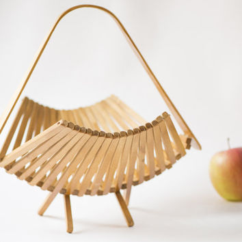 Soviet collapsible wooden fruit basket modern kitchen basket vintage folding basket
