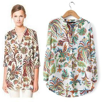 Spring new 2017 Tropical Plants Floral printed shirt women tops V-neck Womens casual ladies Blouses