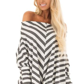 Charcoal and White Striped Ribbed Off the Shoulder Top
