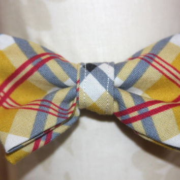 Mustard Yellow, Red & Grey Plaid Adjustable Bowtie (Baby / Infant / Toddler Boy)