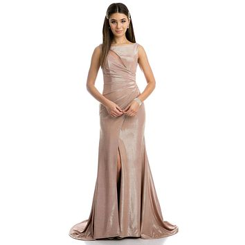 Rose Gold Faux-Wrap Mermaid Style Long Prom Dress with Slit