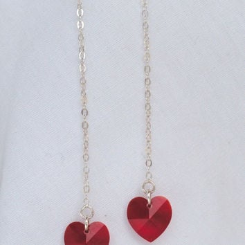 Swarovski Crystal and Sterling Chain Thread-Thru Earrings, Drop Earrings, Heart Earrings, Valentine's Day Gift