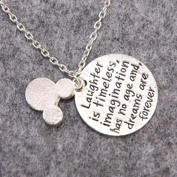 Laughter Is Timeless Imagination Has No Age And Dreams Are Forever Lovely Minnie Mouse Pendant Necklace For Girl Friend Gifts