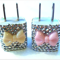 3D Bling Bow Phone Charger for iPhone 3 4 5 by KaiCoutureCases