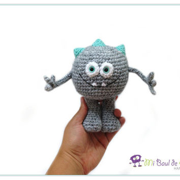Crochet Grey Monster with Aqua Spikes Amigurumi - Alien Doll - Space Stuffed Doll Toy - Monster Plushie- READY TO SHIP