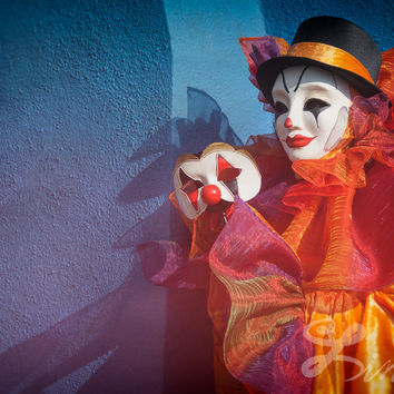 Clown Print Extra Large Colorful Fine Art Print, Circus Wall Art, Carnival Photography ,  Circus Clown Décor Extra Large .  Wall Print