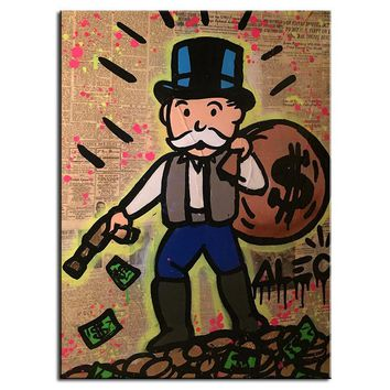 Alec monopoly gun down idea huge new Graffiti art print on canvas for wall picture decor oil painting in living room no frame