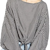 Topshop Knot Gingham Top | Nordstrom