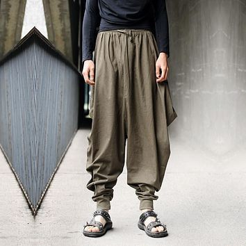 Men trousers Japanese Samurai Style Boho Casual Low Drop Crotch Loose Fit Harem Baggy Hakama Capri Cropped Linen Pants Trousers