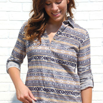 Outfitter Tribal Button Up-Navy