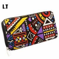 2016 Women Wallet Fashion Canvas Bohemian Boho Hippie Gypsy Graffiti Aztec Navajo Print Slim Zip Around Wallet Purse
