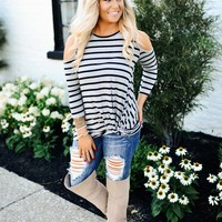 Simply Sweet Striped Cold Shoulder (Grey/Black)
