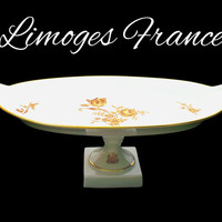 Antique LIMOGES France Porcelain Tray, White and Gold, Pedestal Tray, French Limoges Fine China Serving Dish, Gift for Collector