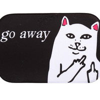 40*60cm Cat With Middle Finger Humorous Funny Saying Words Go Away Entrance Indoor Coral Fleece Non-slip Floor Mat Doormat