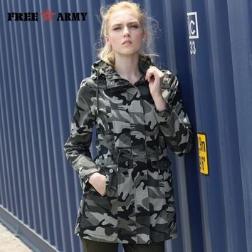 New Fashion Spring Camouflage Jacket Military Pocket Women Jacket With Zipper Slim Casual Women's Coats