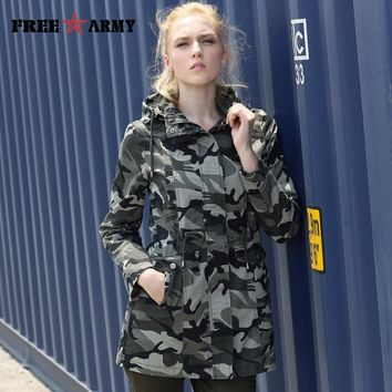 New Fashion 2017 Spring  Camouflage Jacket Military Pocket Women Jacket With Zipper Slim Casual Brand Women's Coats GS-8610