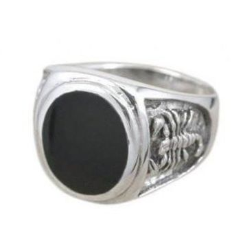 925 Sterling Silver Men's Oval Black Onyx Engraved Scorpion Thick Ring