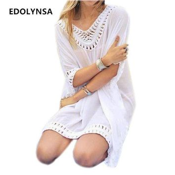 DKLW8 New Arrivals Rayon Beach Cover up Women Swimwear White Dress Tunics Kaftan Crochet Beachwear Ethnic Women Robe de Plage #Q231