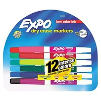 EXPO® Fine Point Low Odor Dry Erase Markers - Assorted (12 Per Set)