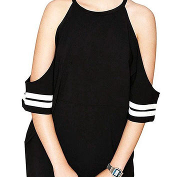 Black Cut-out Shoulders Strapped Dress With Baseball Strip Cuffs