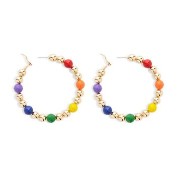 Beaded & Metal Hoop Earrings