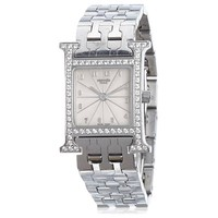 Hermes Stainless Steel Diamond Heure Quartz Wristwatch