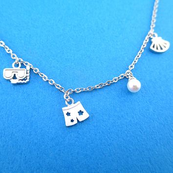 Ocean Holiday Themed Snorkeling Swim Trunks Sea Shells Charm Necklace
