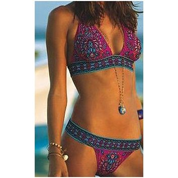 Hot Pink Boho Bikini Multi Colored India Print Two Piece Swimsuit Hippy Gypsy Sizes Small Medium Or Large
