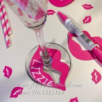50pcs DIY Lip drink wine glass ring markers cards charms bachelorette bridal shower engagement party decorations tags