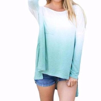 Women's Ombre Mint Green to White Long Sleeve Ombre Color T-Shirt Top
