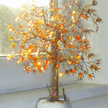 "Art Tree ""Gold Autumn"" Wire Sculpture Original Stained-glass paints Handmade"